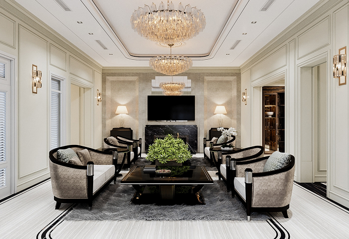 Nội thất phòng khách theo phong cách bán cổ điển cho biệt thự