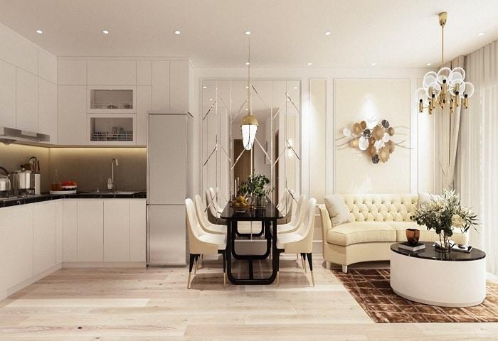 Không gian của phong cách tân cổ điển được trang trí bởi: thảm, gương, rèm cửa,...